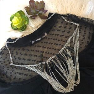 Jewelry - Layered necklace Silver black acrylic drop beads